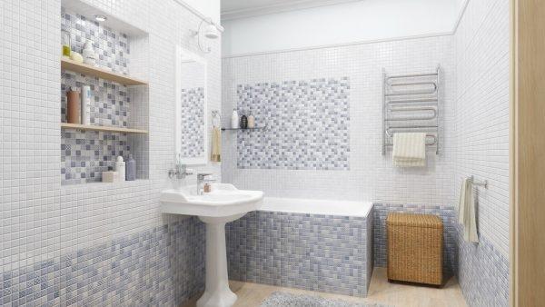 Плитка-мозаика для ванной комнаты: разновидности, подготовка основания, монтаж